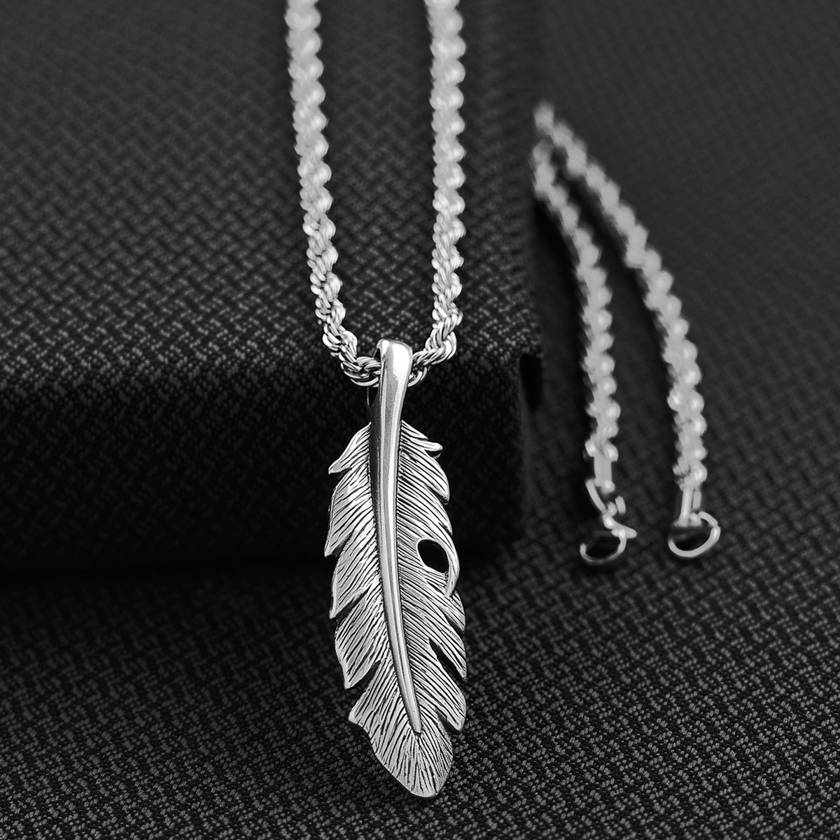 Mens feather Necklace