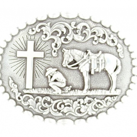 Praying Cowboy Western Buckle