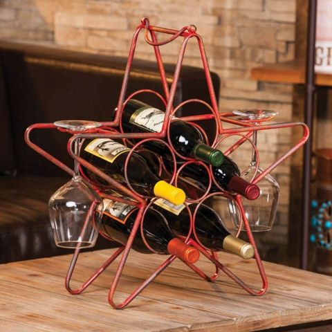Rustic Red Star Wine Rack