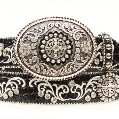 Ladies Black Rhinestone Belt
