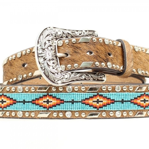 Calf Hair Beaded Belt