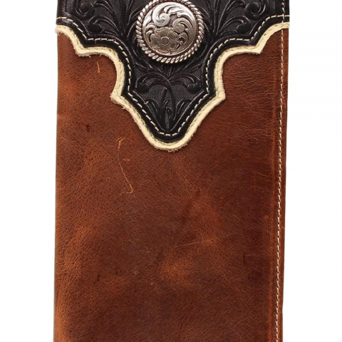 Tooled Overlay Wallet- Black