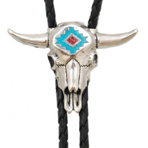 Steer Head Turquoise & Coral Inlay Bolo Tie