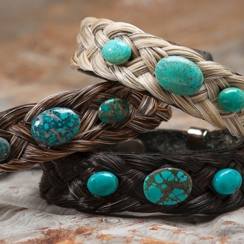 Turquoise and Horsehair Bracelet