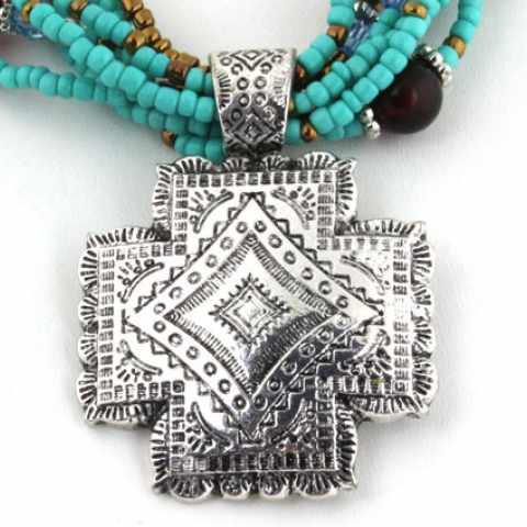 Silver Tone Concho Necklace Set