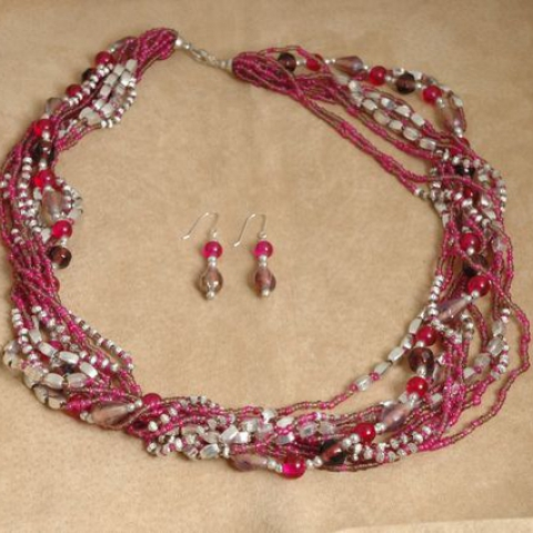 Fushia & Purple Necklace Set