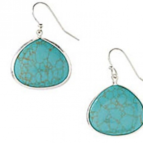 Faux Turquoise and Pewter Earrings