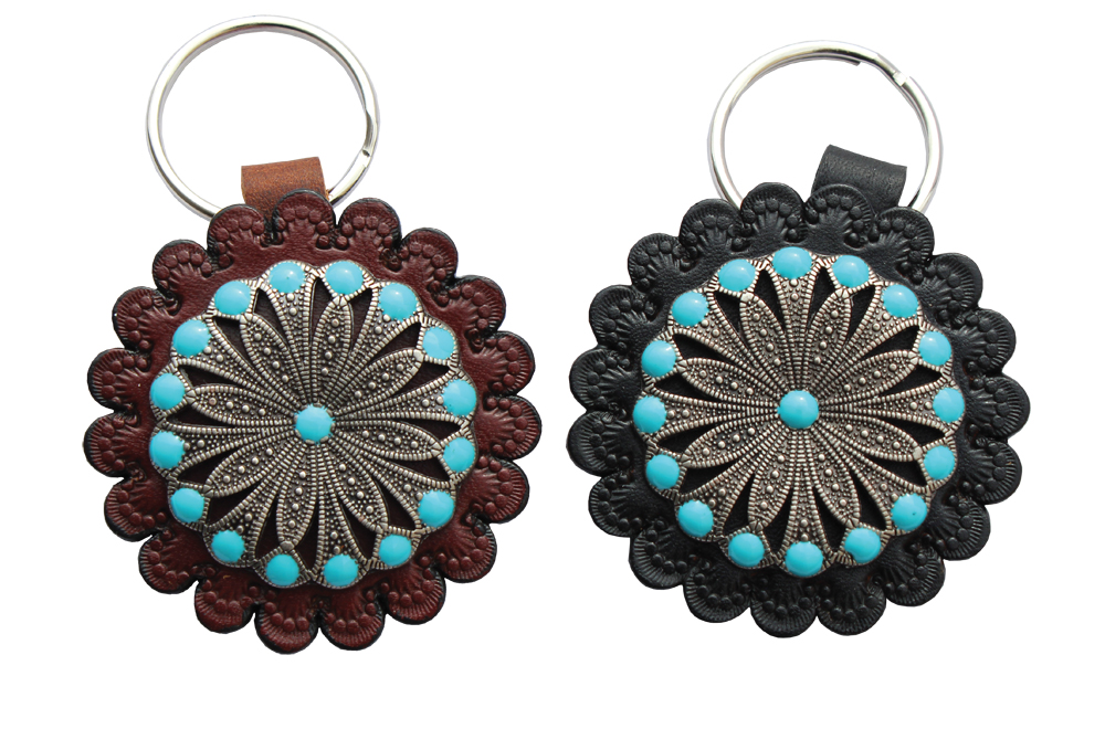 Turquoise Concho Key Ring