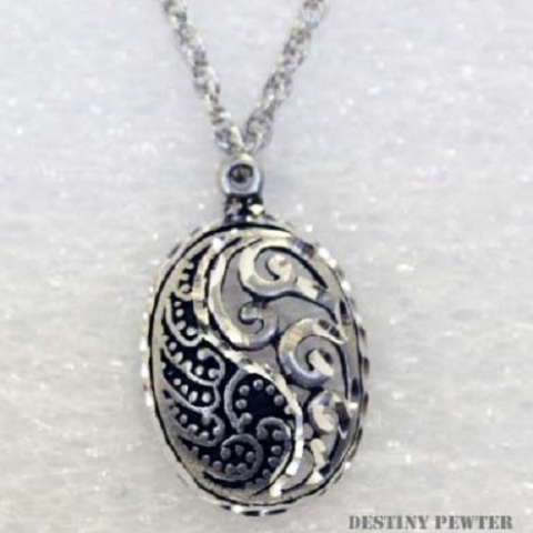 Pewter Paisley Oval Necklace