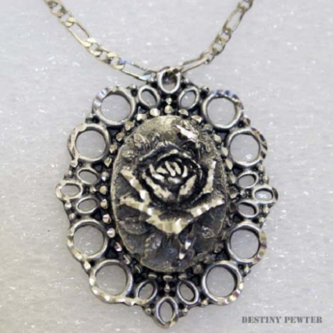 Pewter Vintage Rose Necklace
