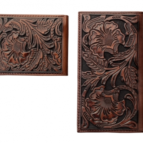 MENS TOOLED WESTERN WALLET