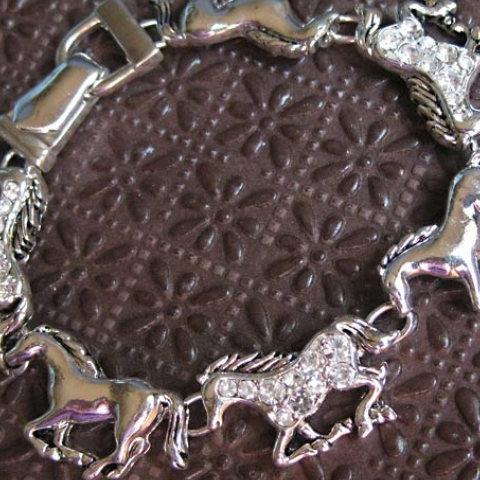 Running Horse and Rhinestone Bracelet