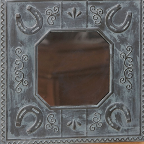 Horseshoe Tin Tile Wall Mirror