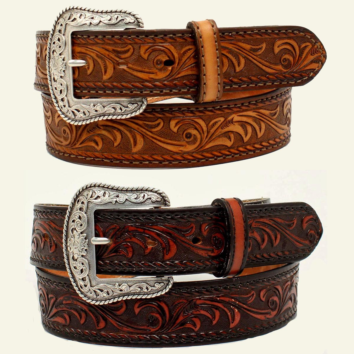 TOOLED WESTERN BELT MADE IN USA