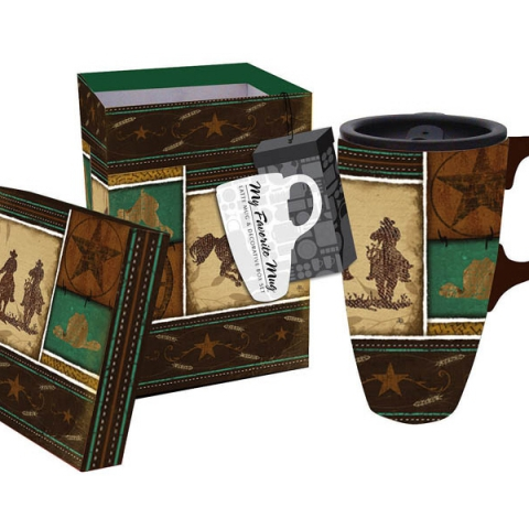 Boxed Ceramic Latte Travel Mug- Western
