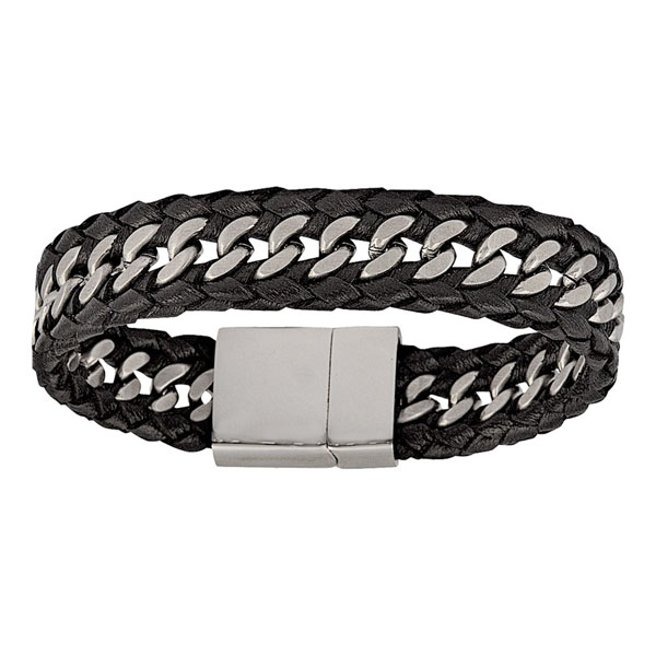 Leather & Steel Bracelet