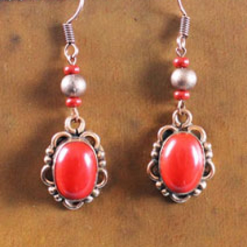 Copper & Coral Tone Earrings