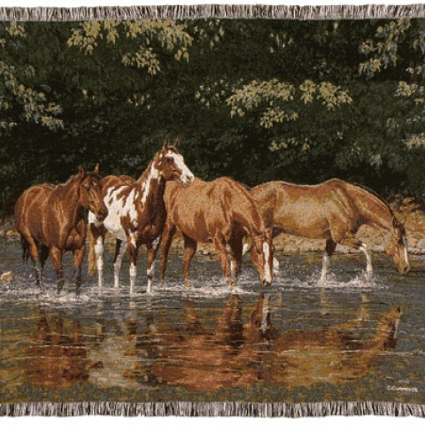 Tapestry Throw Horses