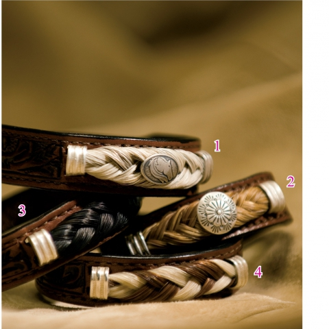Tooled Leather & Horsehair Bracelets-