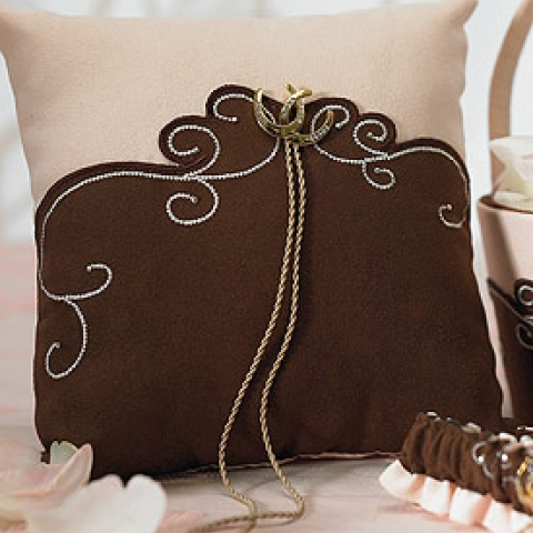 Brown & Blush Ring Bearer Pillow