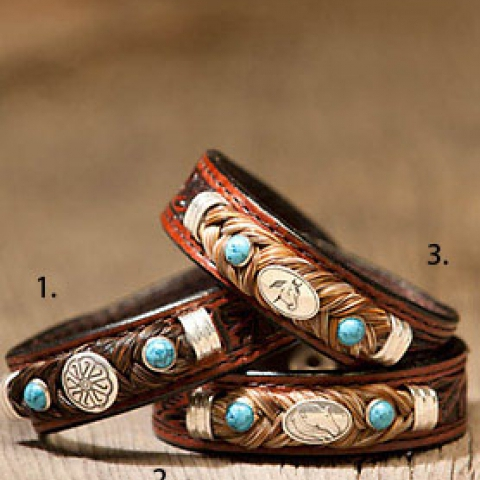 Leather & Horsehair Bracelet w/ Gem