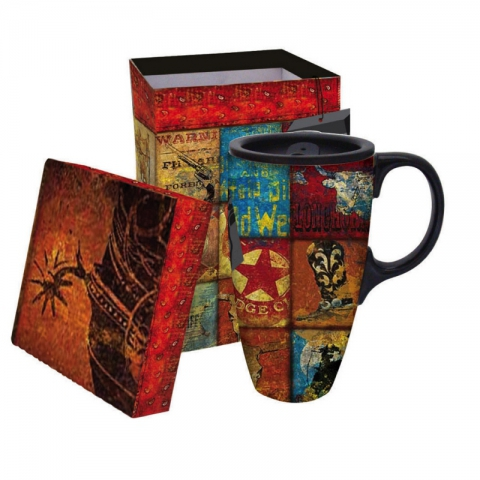 Boxed Ceramic Latte Travel Mug- Western Motif