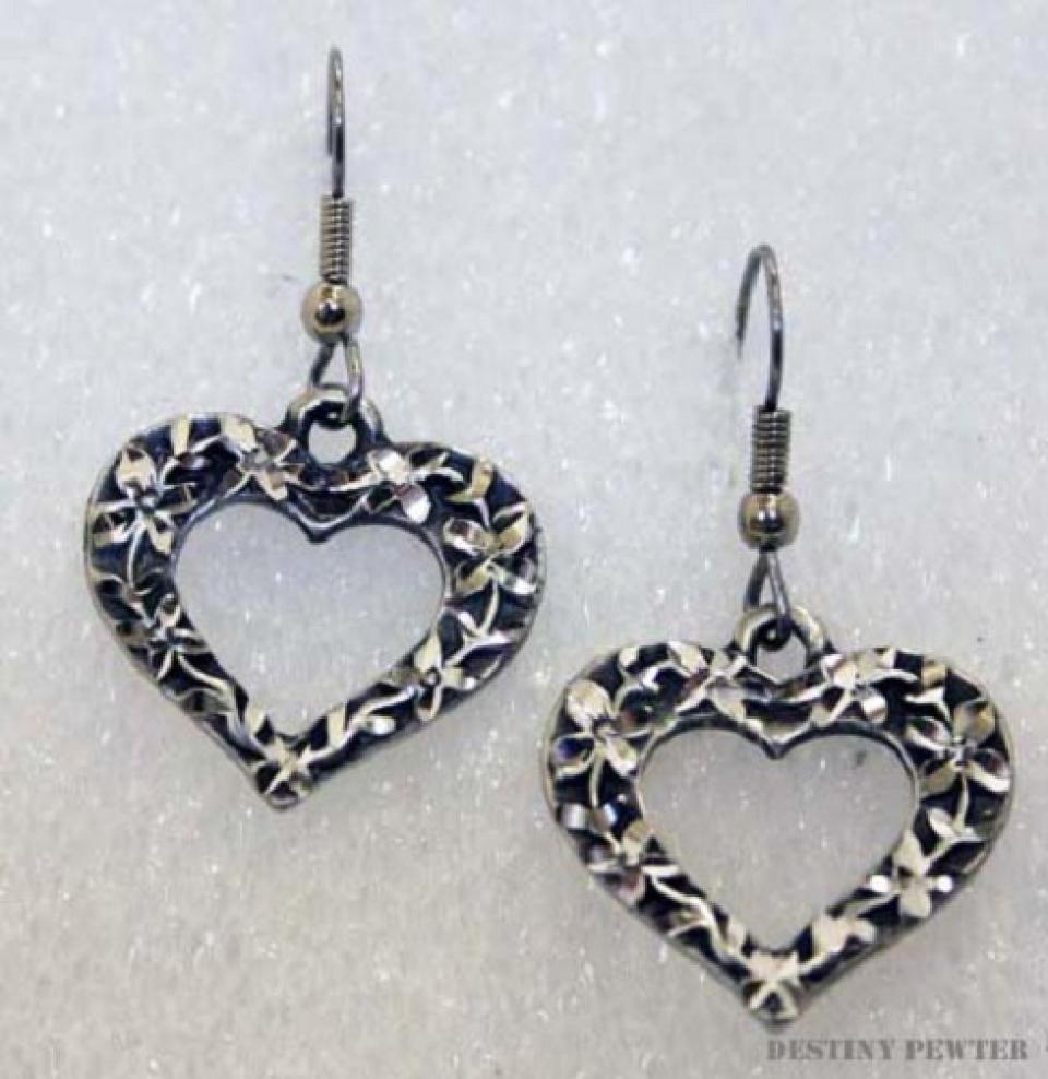 Heart Pewter Earrings